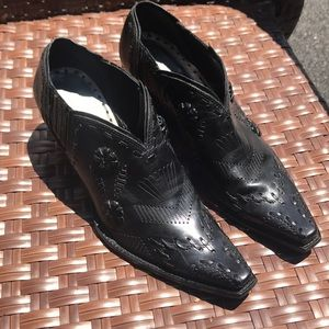 BCBGirls Black Leather Cowboy Booties Size 7